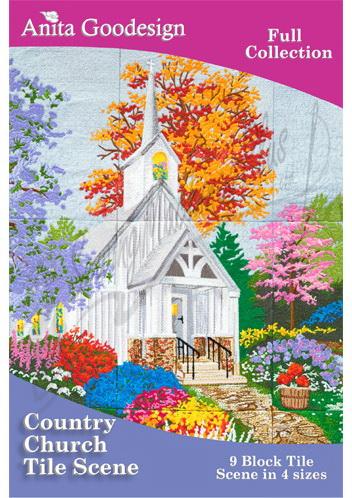 Anita Goodesign Country Church Tile Scene 137AGHD