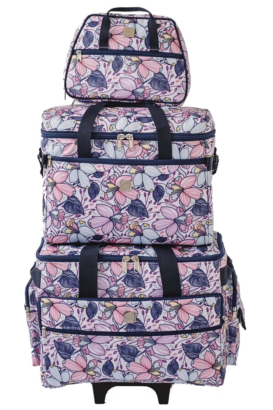 "Bluefig Quilter Essential Combo: 19"" Wheeled Bag, Project Bag and Satchel - Maisy"