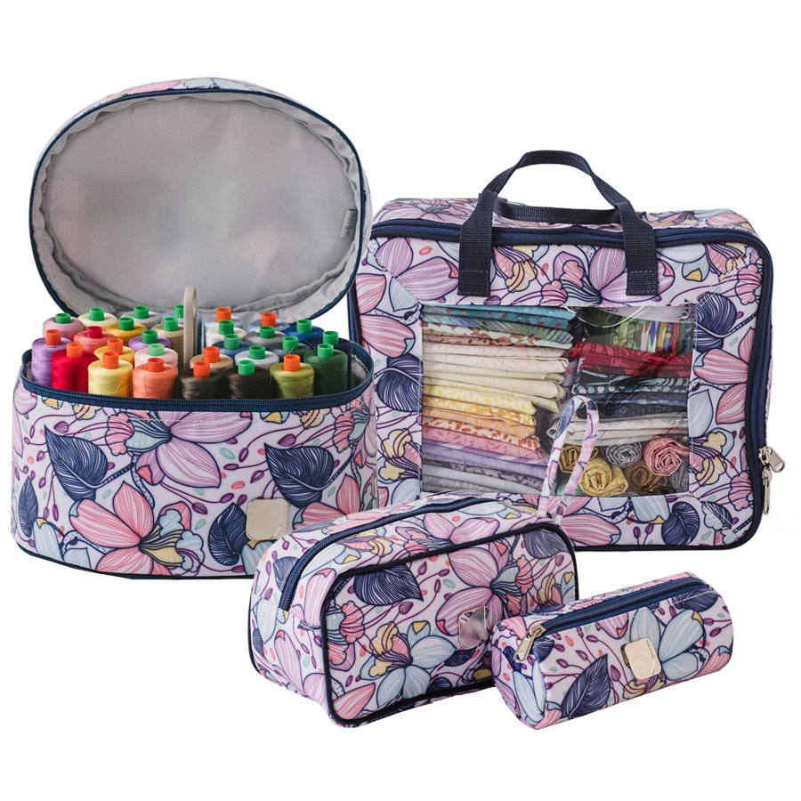 Bluefig Quilters Bee Bundle 1: Thread Carrier, Zipper Bag, Wrist Bag and Fat Quarter Bag - Maisy