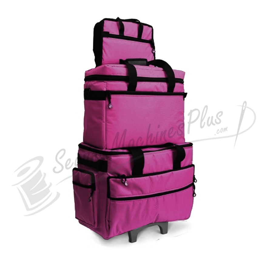 Bluefig TB19 Wheeled Sewing Machine Carrier & Project Combo - Pink