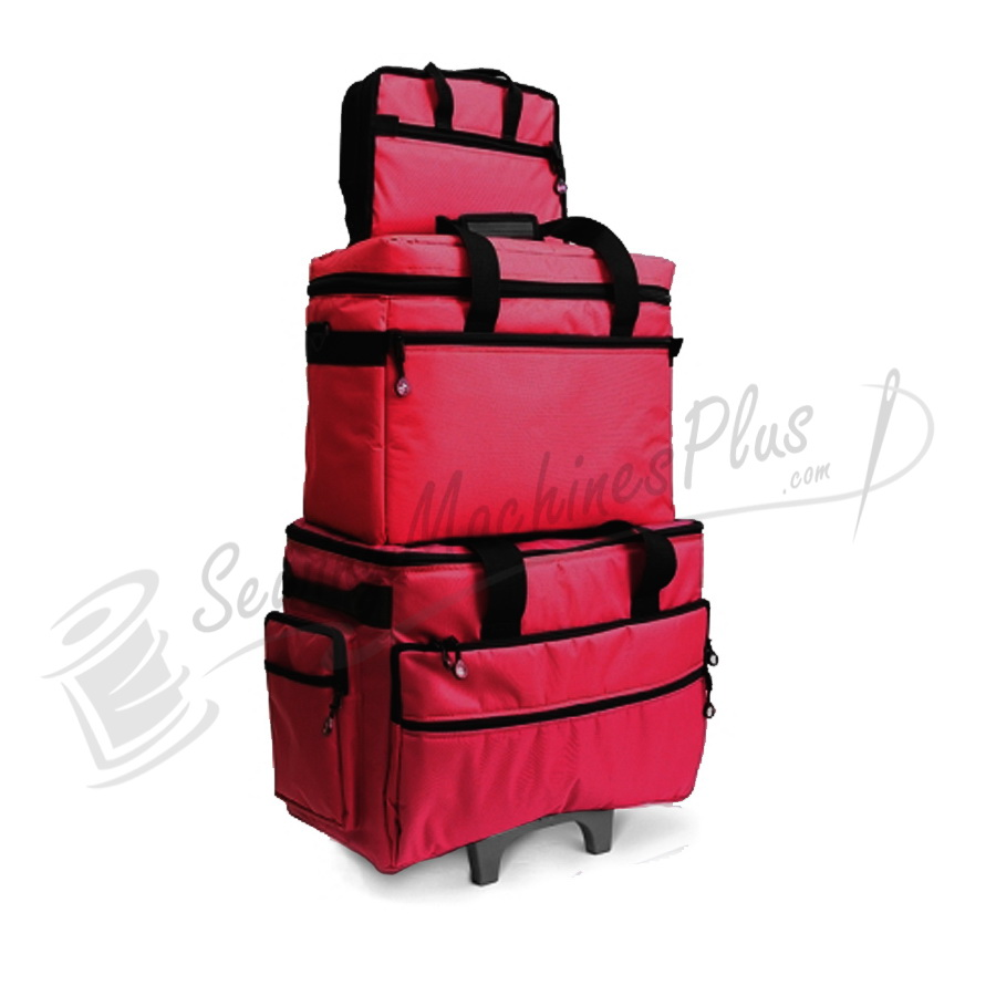 Bluefig TB19 Wheeled Sewing Machine Carrier & Project Combo - Red