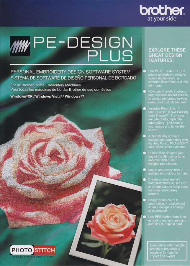 Pe Design Plus Embroidery Editing Software By Brother With Photostitch Capability