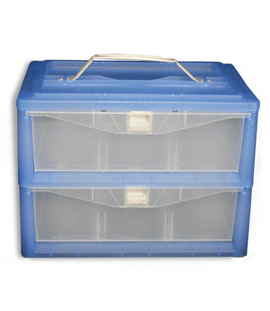 2 Drawer - 30 Cone storage box with handle & Dividers - Blue R-STORBOX