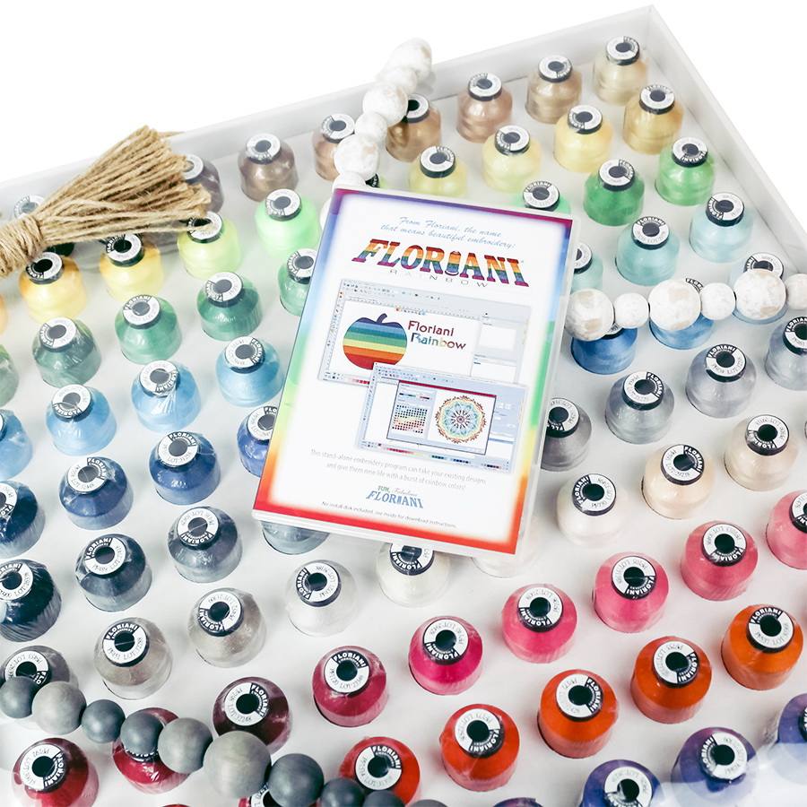 Floriani 120 Rainbow Spectrum Thread Set With FREE Rainbow Software Included