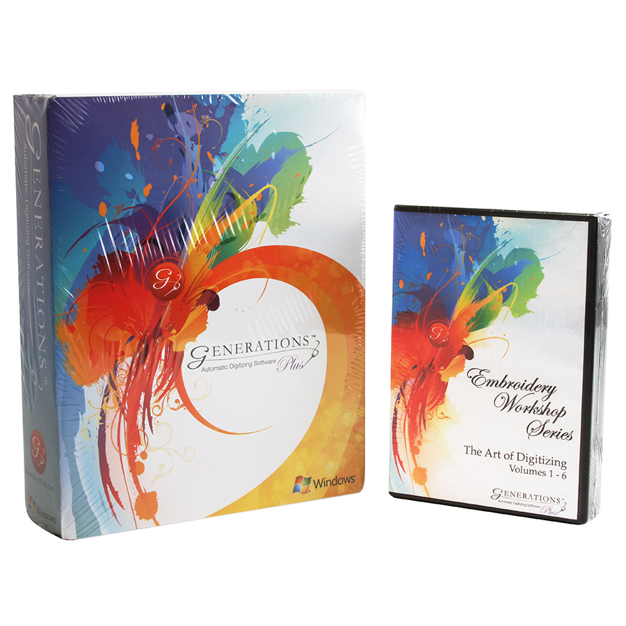 Generations Plus Embroidery Software Suite with Art of Digitizing Volumes 1-6
