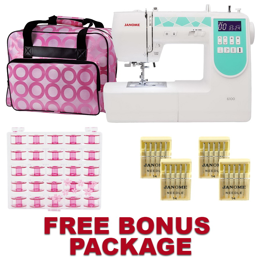 Janome 6100 Sewing Machine with a FREE Bonus  Package!