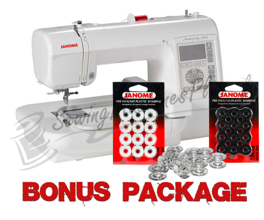 Janome Memory Craft MC200E Embroidery only Machine w/ FREE BONUS