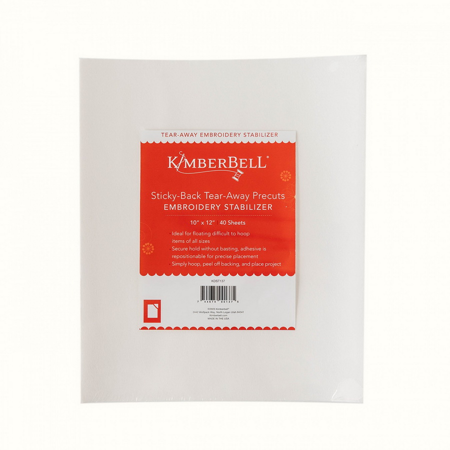 KimberBell Sticky Back TearAway 10 in x 12 in 40ct Stabilizer Pack (KDST137)