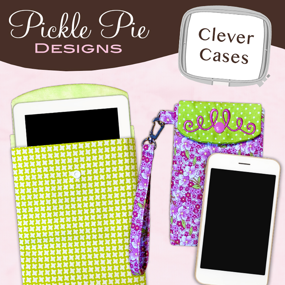 Pickle Pie Designs Clever Cases In the Hoop Machine Embroidery CD (PPD78)