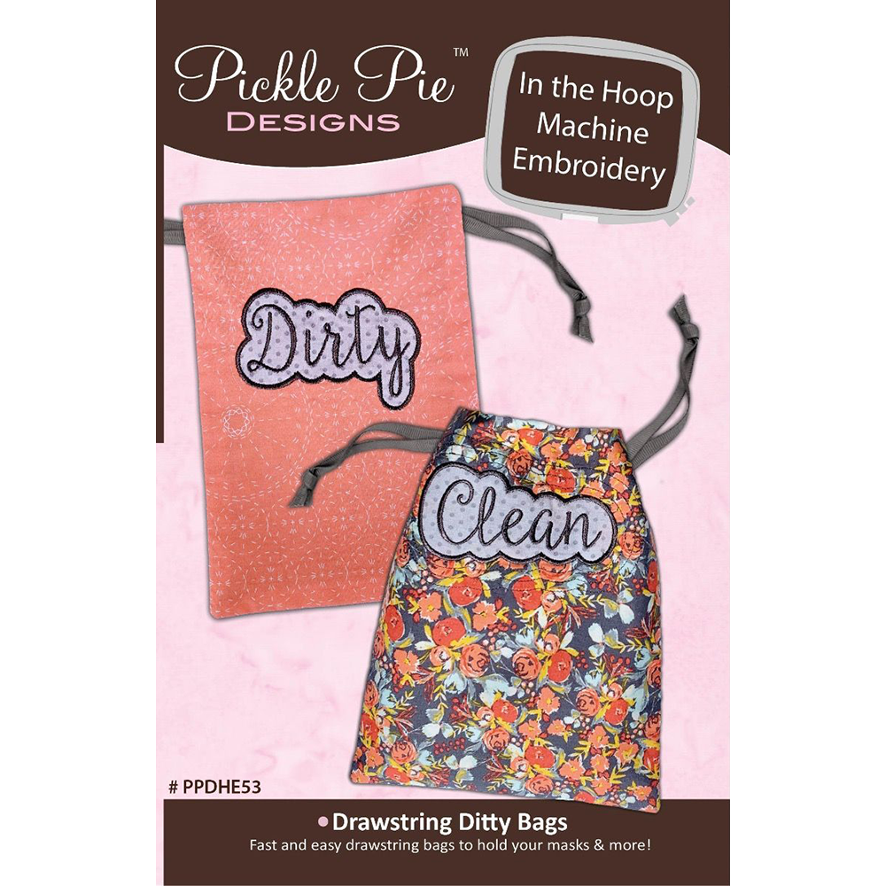 Pickle Pie Designs Drawstring Ditty Bags Hoop Envy Club ITH (PPDHE53)