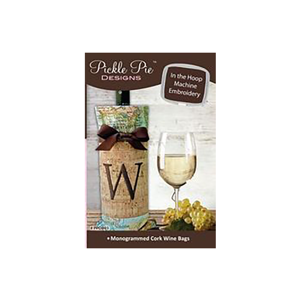 Pickle Pie Designs Monogrammed Cork Wine Bags (PPDB03)