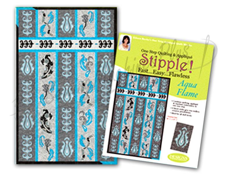 Stipple! Quilt Blocks - Aqua Flame - Designs in Machine Embroidery