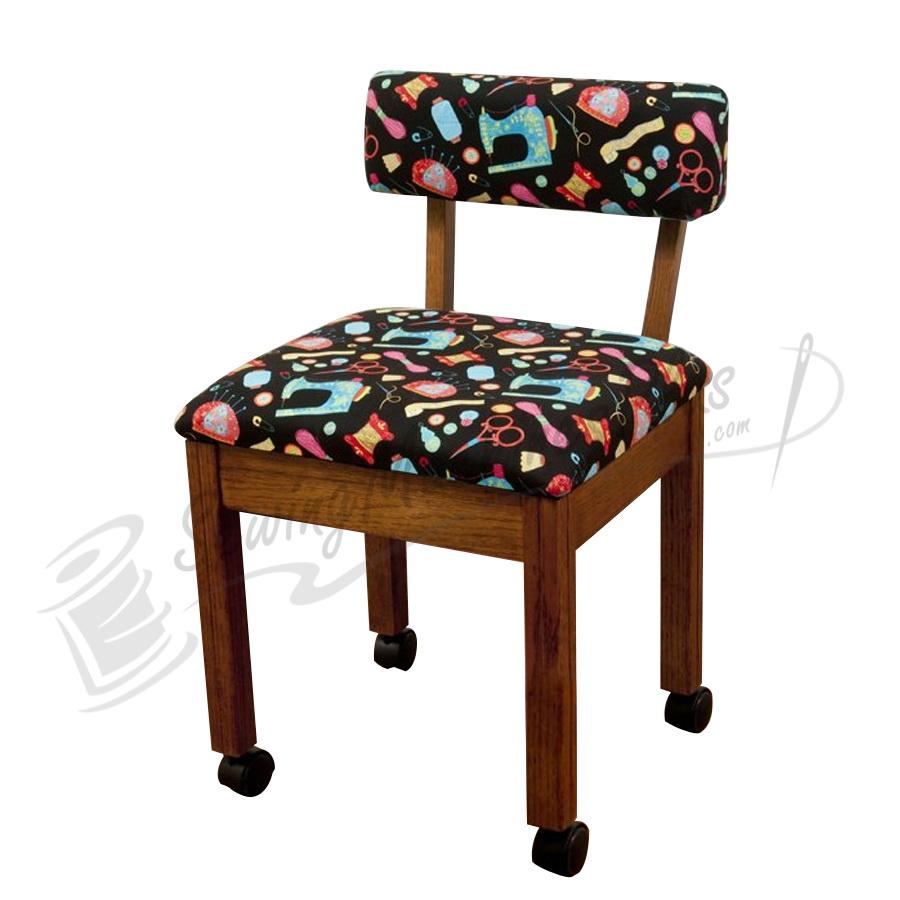 Arrow Sewing Chair Black Riley Blake fabric on Oak 7000B