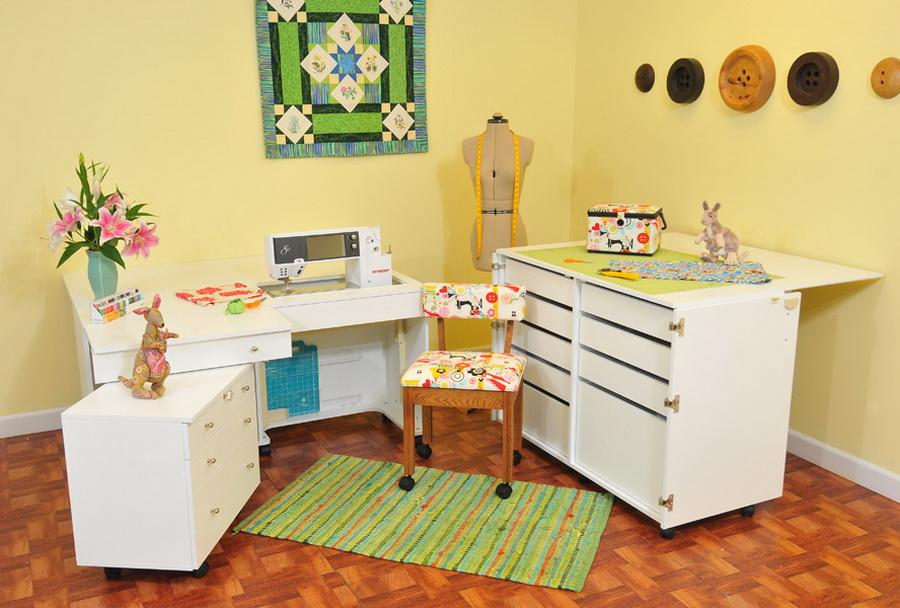 Kangaroo Kabinets Studio Combo WHITE Kangaroo & Joey Sewing Cabinets (KS-WHT)