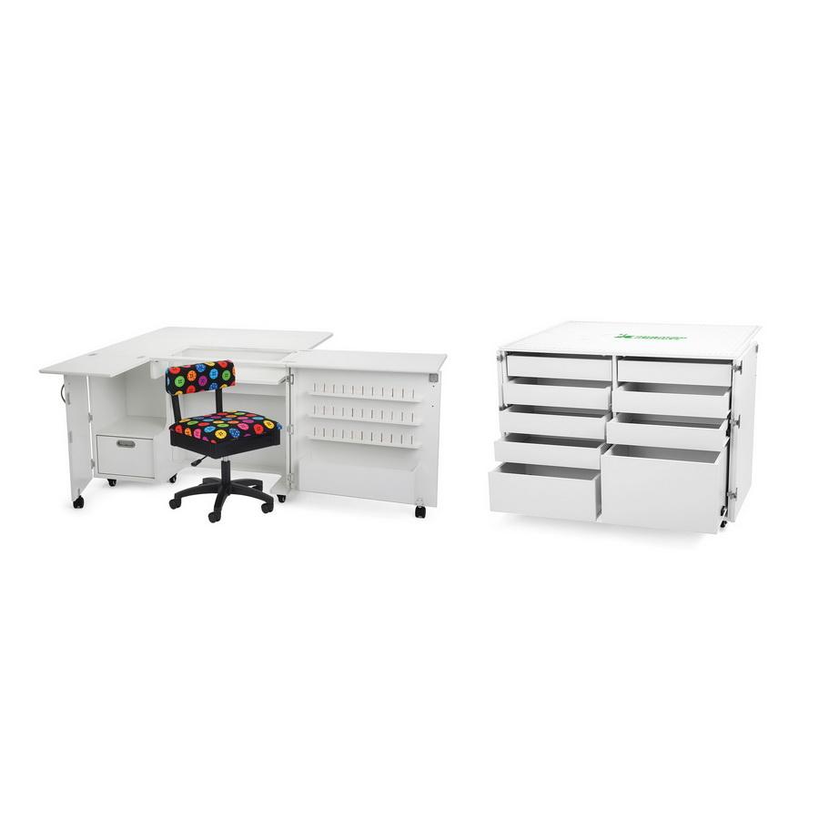Kangaroo Kabinets Wallaby II Studio Wallaby Air Lift and Dingo II Sewing Cabinet Set WHITE (WS-WHT)