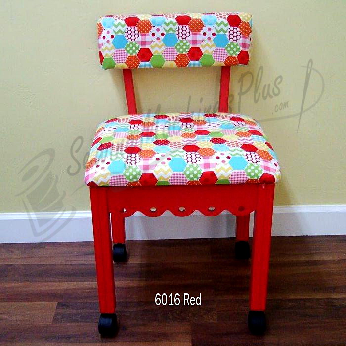 Arrow 6016 Riley Blake Hexi Motif Fabric Sewing Chair - Red