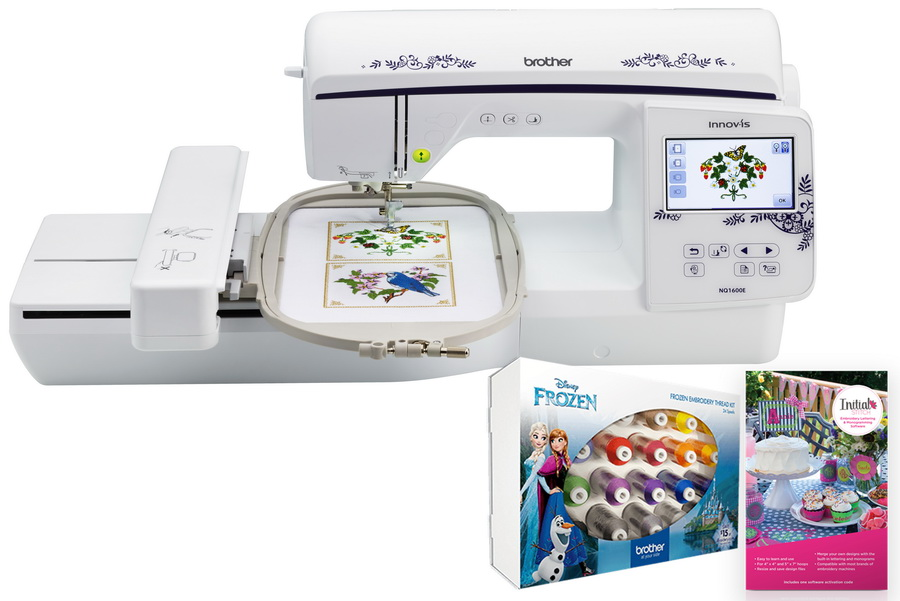 Brother Innov-is NQ1600E Embroidery Machine (FREE Frozen Thread Kit and Initial Stitch Software)