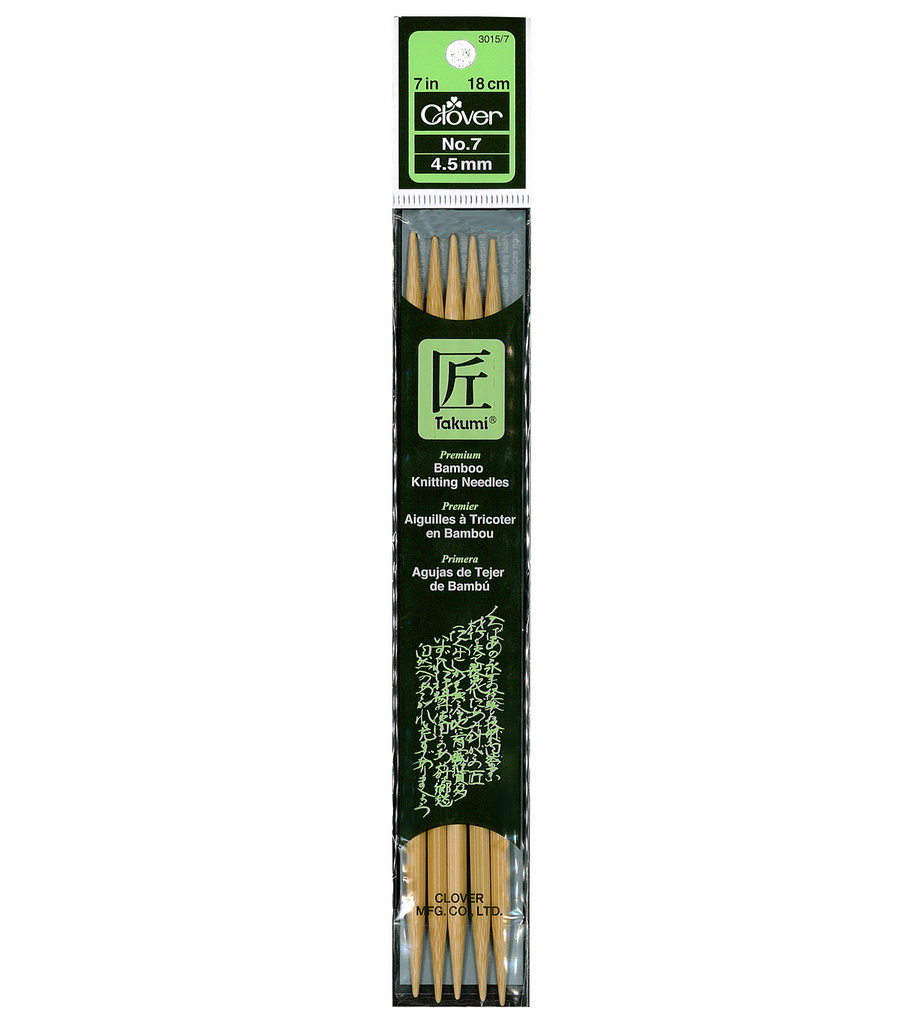 Clover Takumi Bamboo 7 inch Knitting Double Pointed Needles