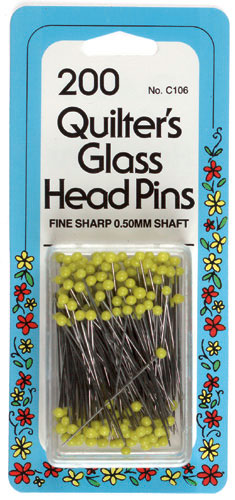 Collins Quilters Yellow 1 3/8 inch Glass Head Pins (c106)