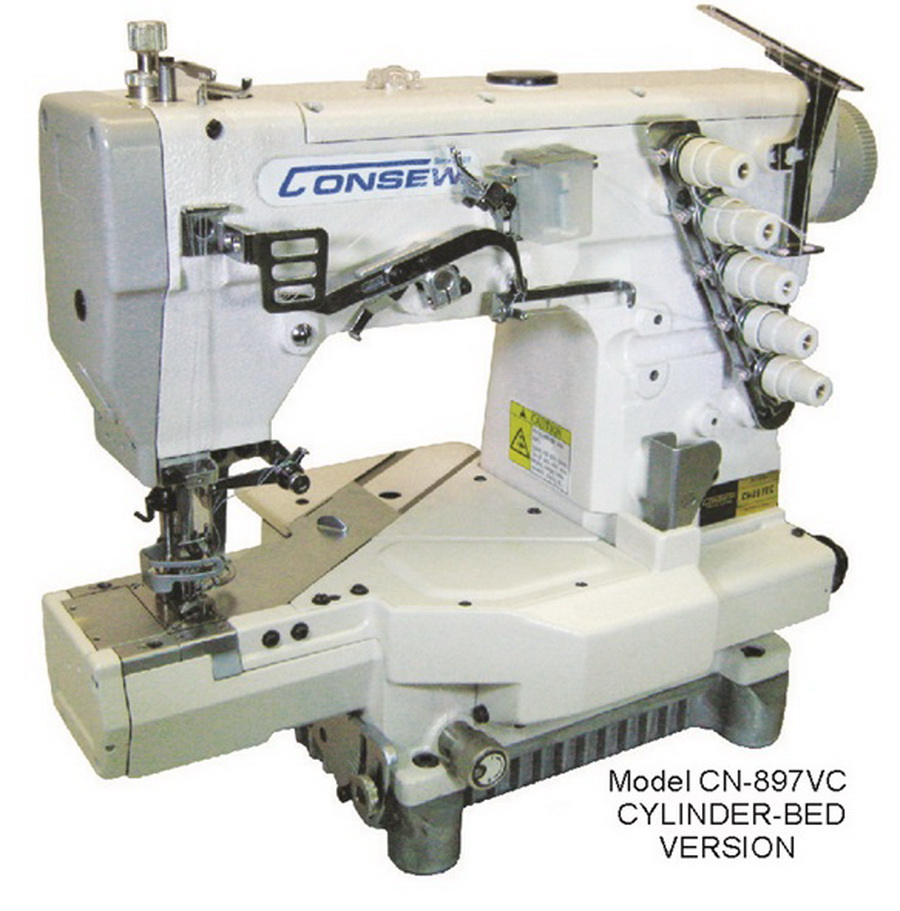 Consew CN897CV-1 Cylinder Bed 2/3 Needle, 4/5 Thread Coverstitch Machine with Assembled Table and Servo Motor