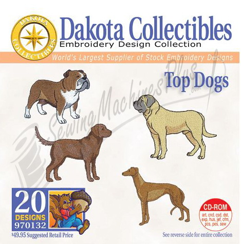 Dakota Collectibles  Top Dogs Embroidery Designs - 970132