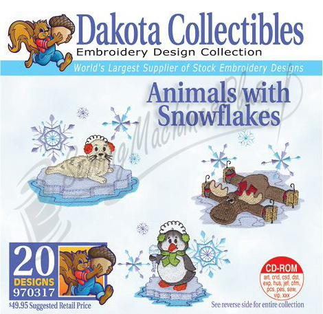 Dakota Collectibles Animals with Snowflakes Embroidery Designs - 970317