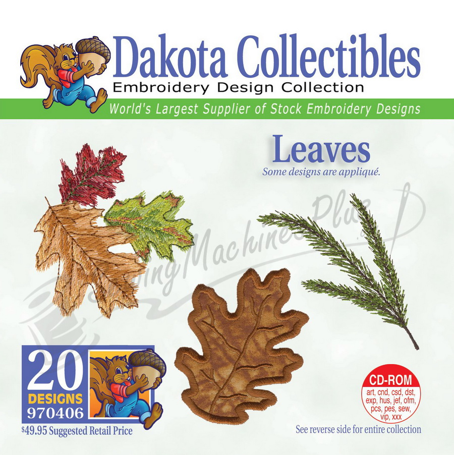 Dakota Collectibles Leaves Embroidery Designs - 970406