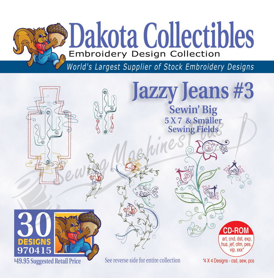 Dakota Collectibles Jazzy Jeans 3 Embroidery Designs - 970415