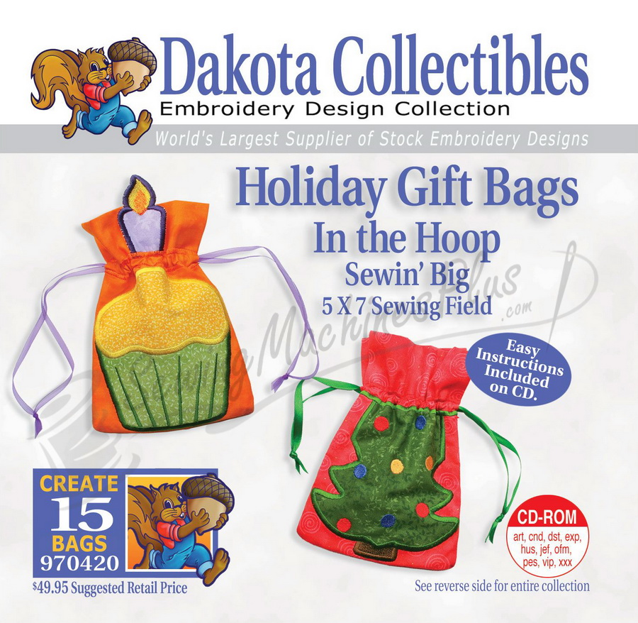Dakota Collectibles In the Hoop Holiday Gift Bags 970420