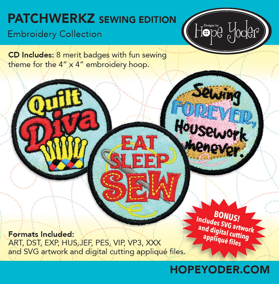 Patchwerkz Sewing Edition Embroidery Collection - Designs by Hope Yoder