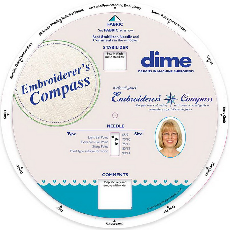 Dime Embroiderers Compass Tool from Deborah Jones