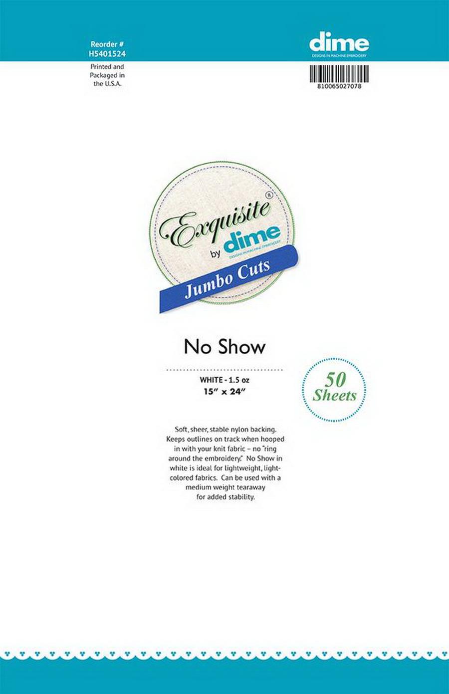 """DIME Exquisite Jumbo Cuts (15"""" x 24"""" No Show Cutaway - 50 sheets)"""