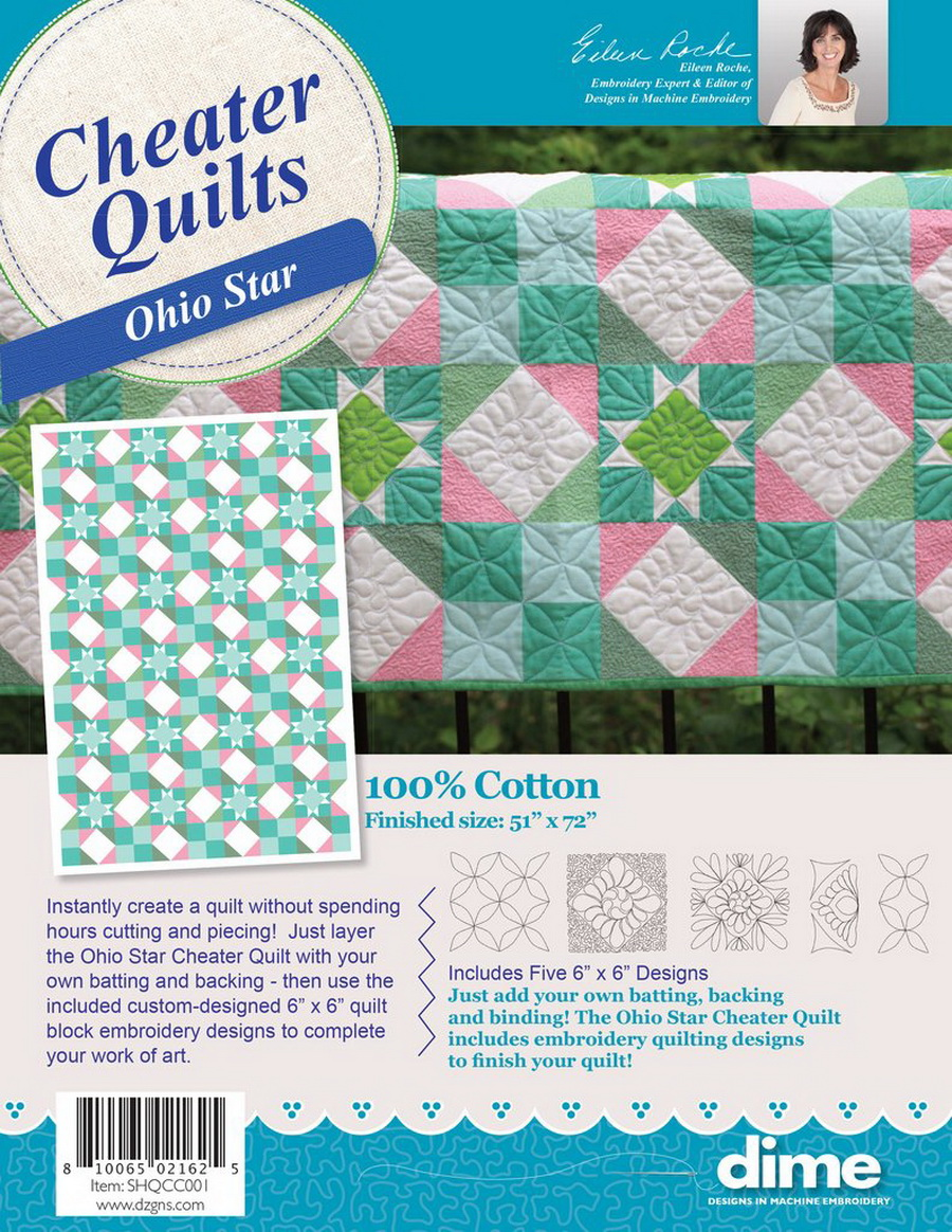 DIME - Ohio Star Cheater Quilt With Designs