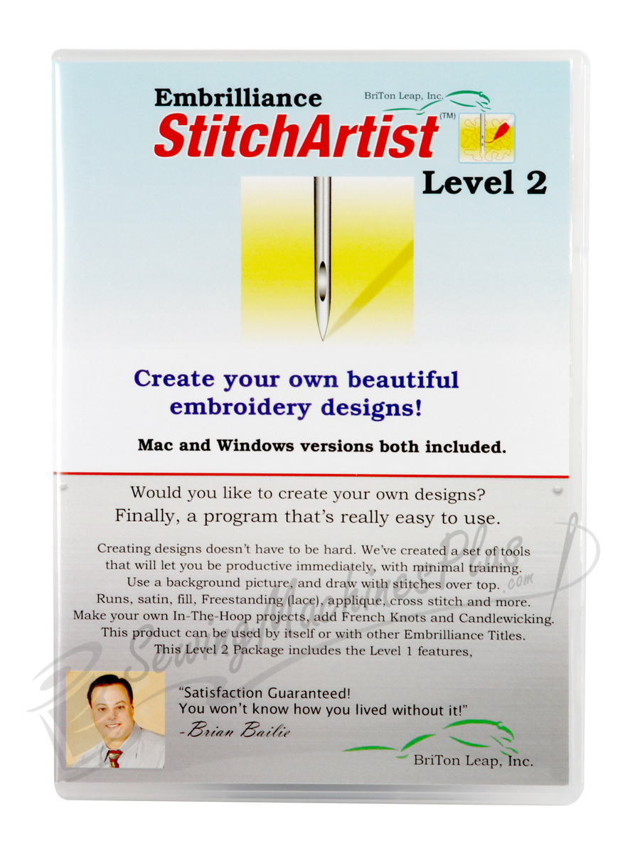 Embrilliance StitchArtist Level 2 Embroidery Design Software for Mac and PC  (SA210)