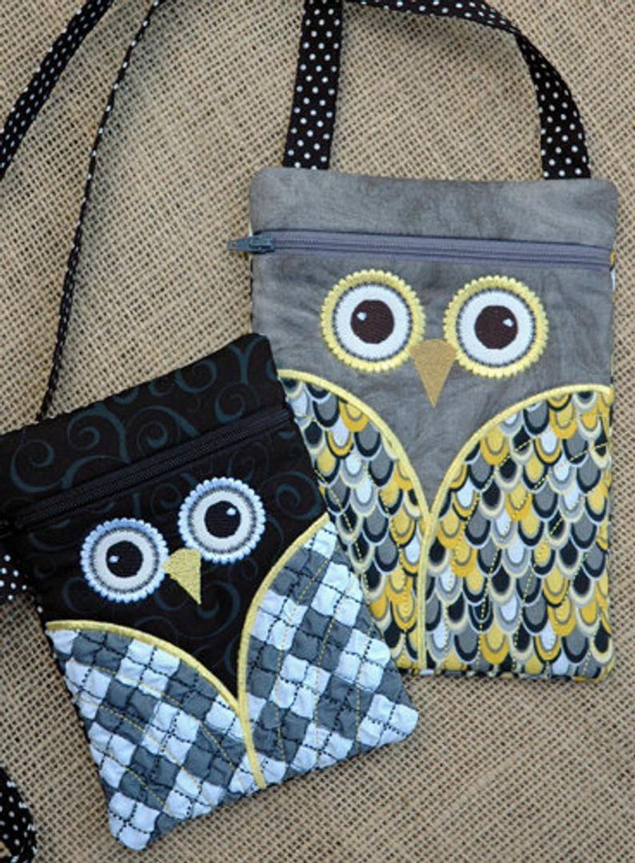 Embroidery Garden Owl Wristlet and Purse Set