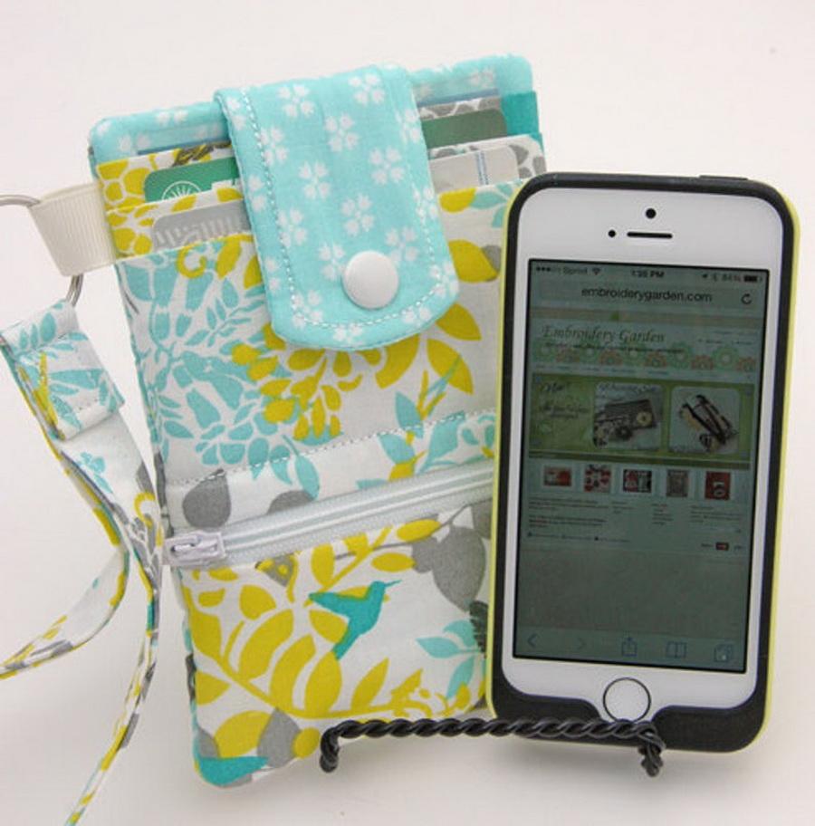 Embroidery Garden Phone Wallet Set
