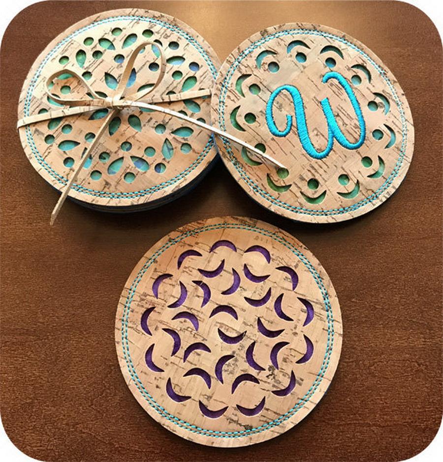 Embroidery Garden Cork Cut Coasters Set 2