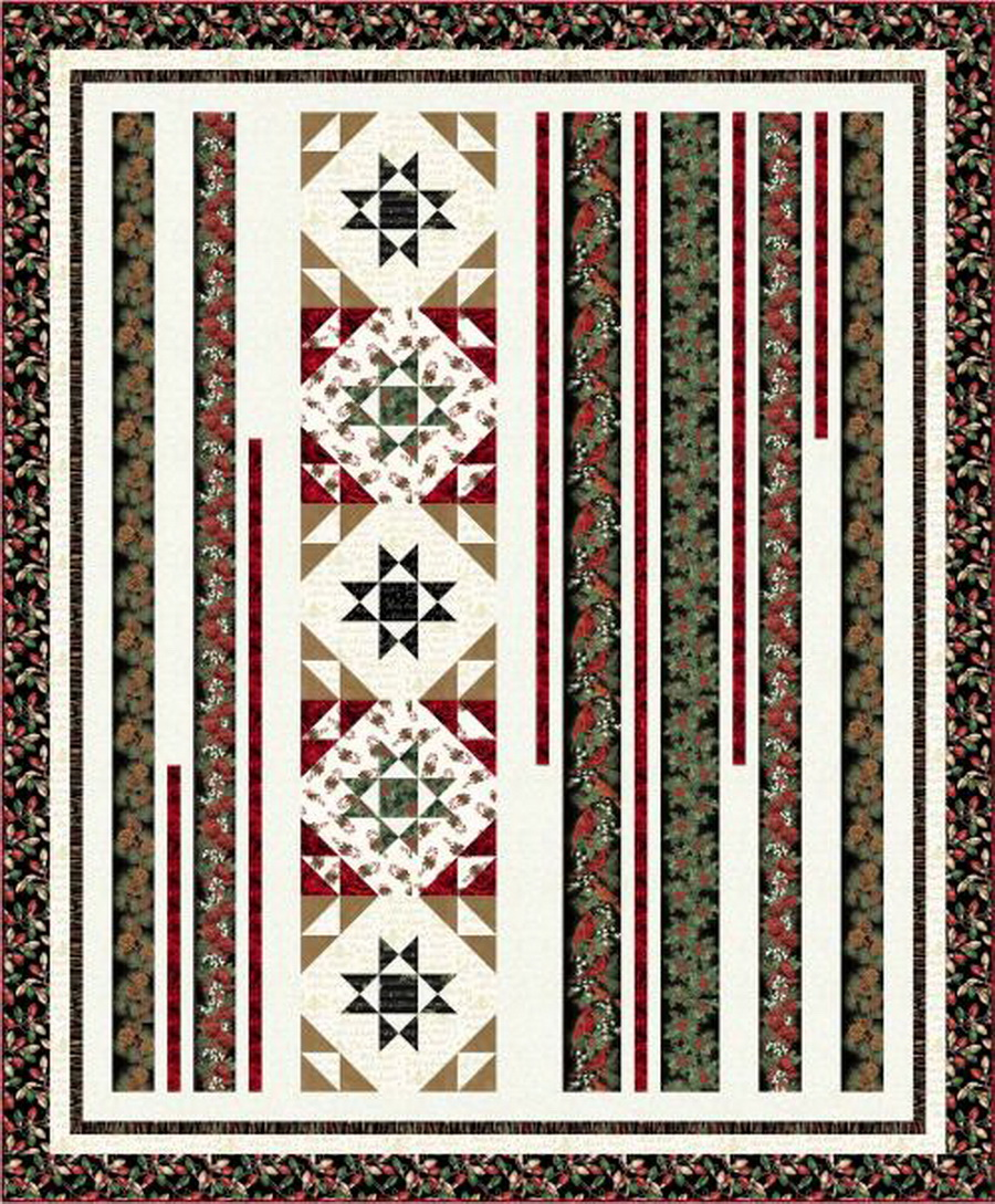Hoffman Fabrics - Deck the Halls Black Gold Colorway Quilt Fabric Kit
