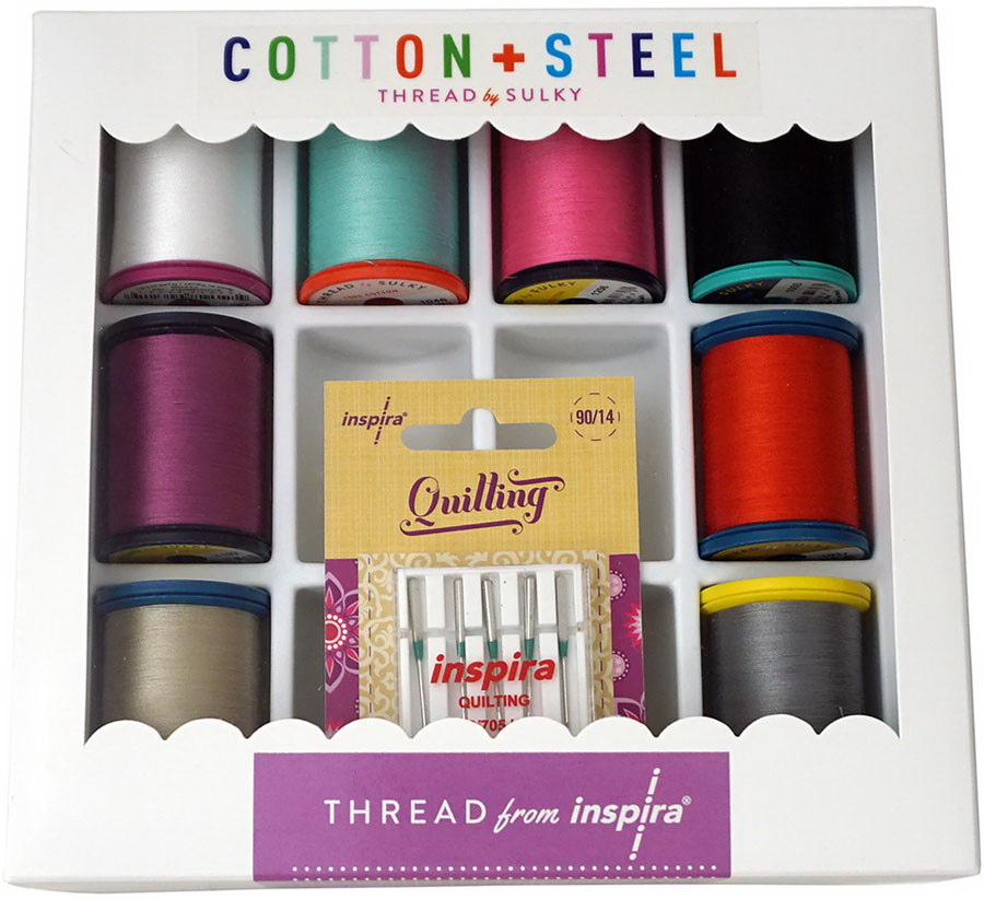 Inspira Cotton + Steel Threads by Sulky and Needles