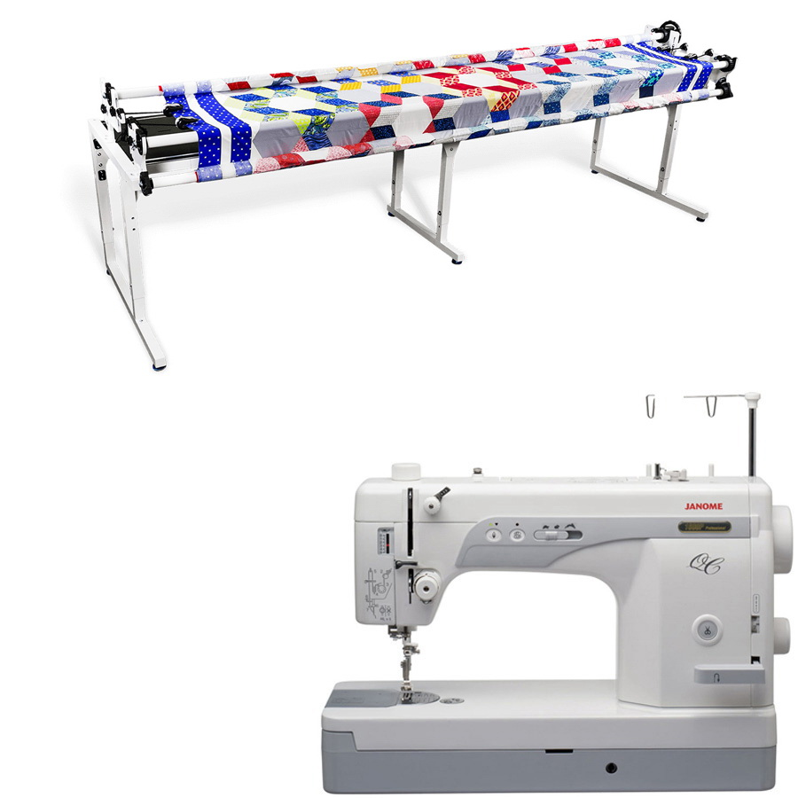 Janome 1600P-QC Sewing Machine w/ Grace 8ft Continuum Quilting Frame
