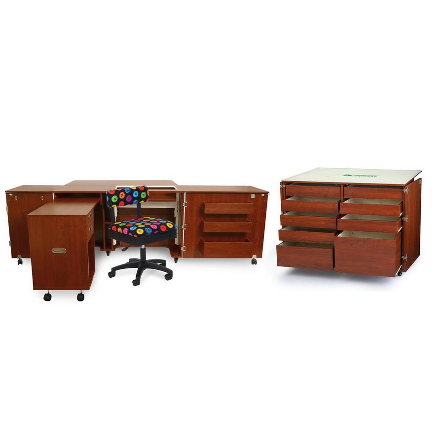 Kangaroo Kabinets Aussie Studio and Dingo II TEAK Sewing Cabinets Set with Air Lift (AS-TEAK)