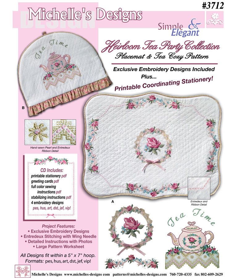 Michelles Designs - Heirloom Tea Party Embroidery Design Collection (#3712)