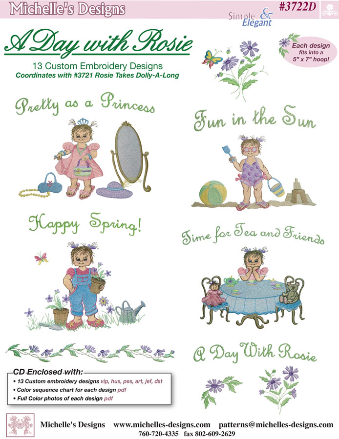Michelles Designs - A Day with Rosie Embroidery Designs (#3722D)