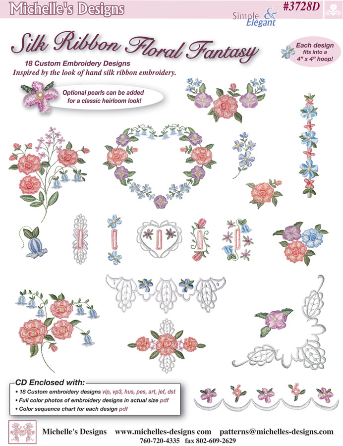 Michelles Designs - Silk Ribbon Floral Fantasy Embroidery Design Collection (#3728D)