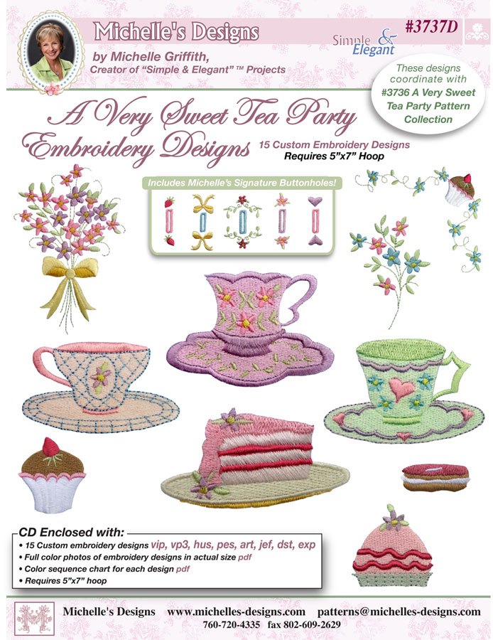 Michelles Designs - A Very Sweet Tea Party Embroidery Design Collection (#3737D)