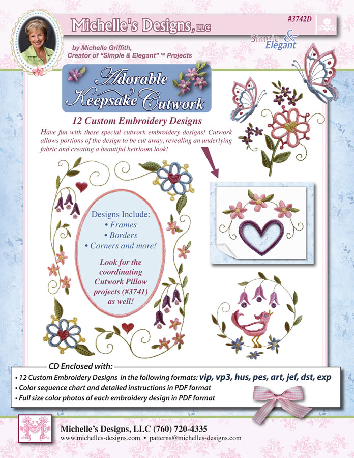 Michelles Designs - Adorable Keepsake Cutwork Embroidery Collection (#3742D)