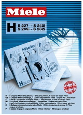 Miele Type H Dust Bag Package for Fullsize Canister Vacuum Cleaners