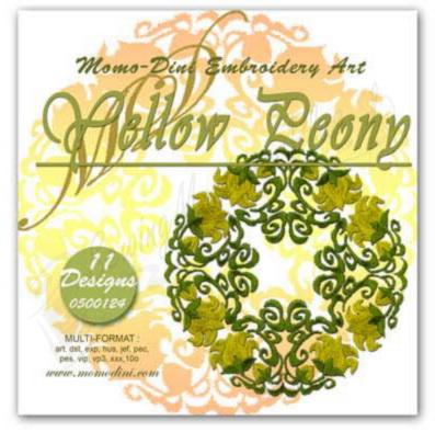 Momo-Dini Embroidery Designs - Yellow Peony (0500124)