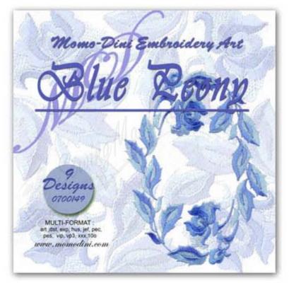 Momo-Dini Embroidery Designs - Blue Peony (0700149)