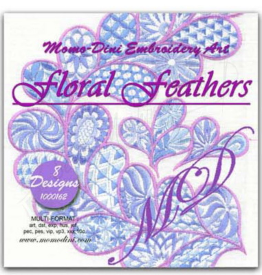 Momo-Dini Embroidery Designs - Floral Feathers (1000162)